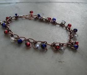 Patriotic copper chain bracelet